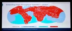 Новая карта покрытия спутникового Интернета от Panasonic. Синим отмечены места, где планируется повысить скорость, а голубым - новое покрытие к 2016 году.