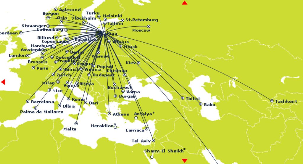 Карта направлений Air Baltic из Риги