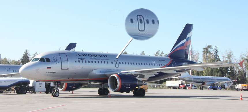 A319 имеет один аварийный выход на плоскость крыла.