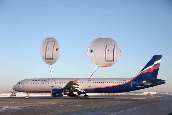 У A321 две полноразмерных двери с трапами, и не над крылом, а перед и за ним.