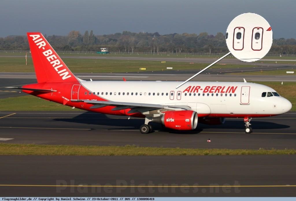 Редко, но встречаются A319 с двумя аварийными выходами на крыло с каждой стороны. Отличить их от A320 можно только по длине хвоста.