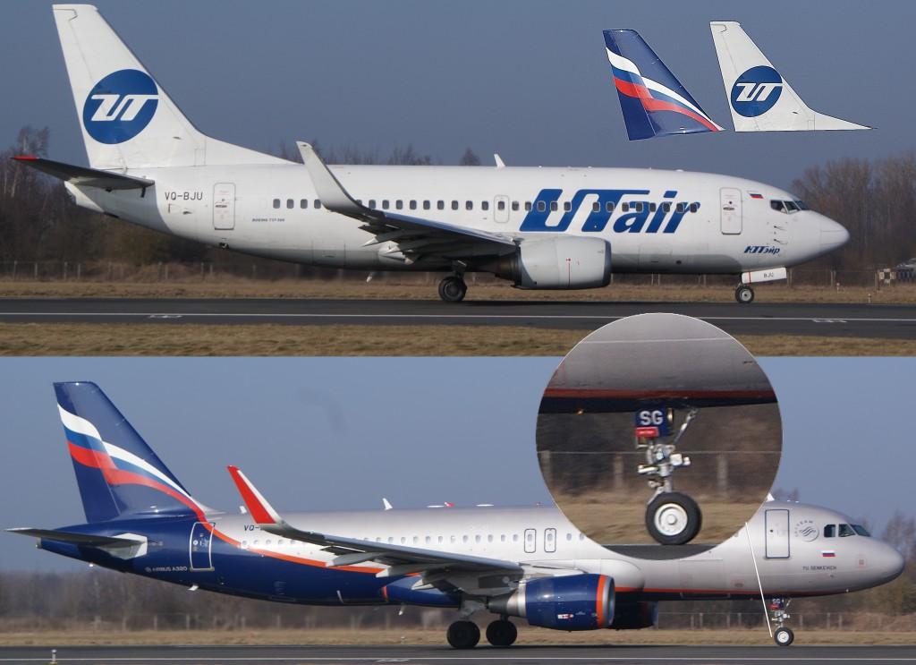 """Boeing-737 вверху, Airbus A320 внизу: обратите внимание на характерный киль у """"Боинга"""" и на наклонную носовую стойку шасси у """"Аэробуса"""""""