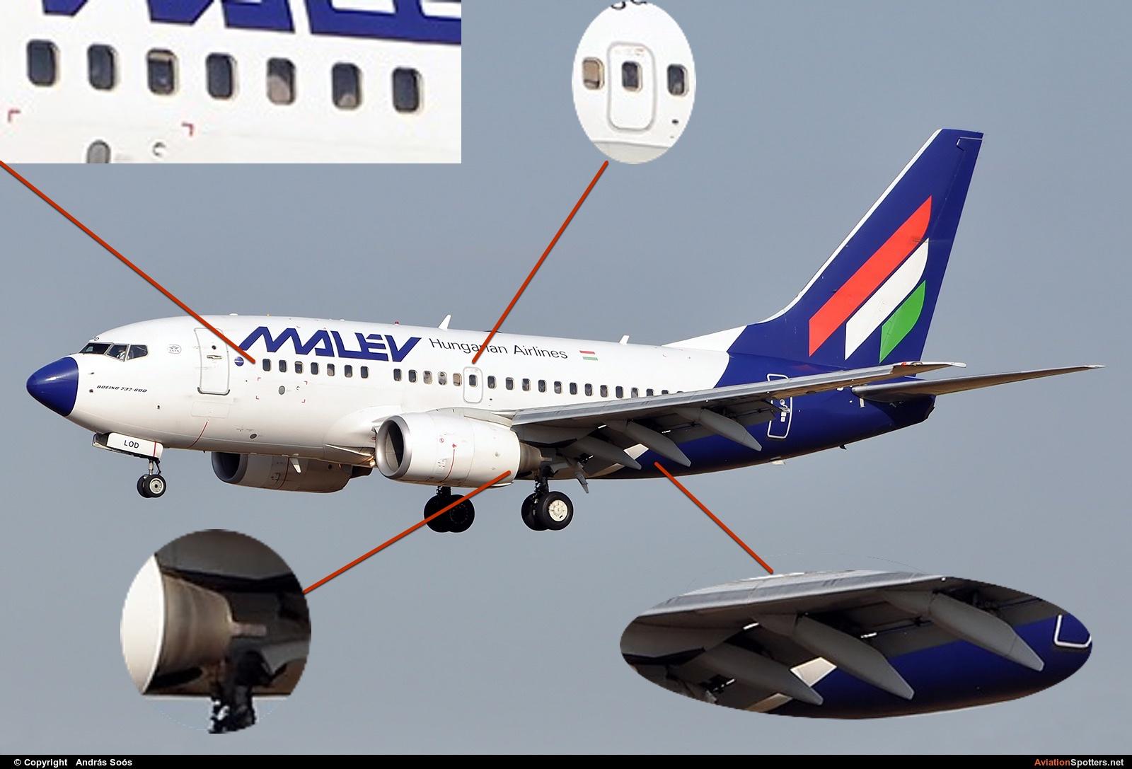"""737-600 не так просто отличить от 737-500: тоже один выход, тоже 7-8 окошек, поэтому различать можно по форме двигателя и по количеству """"бананов"""" по крылом: у NG три, у """"классики"""" два с каждой стороны."""
