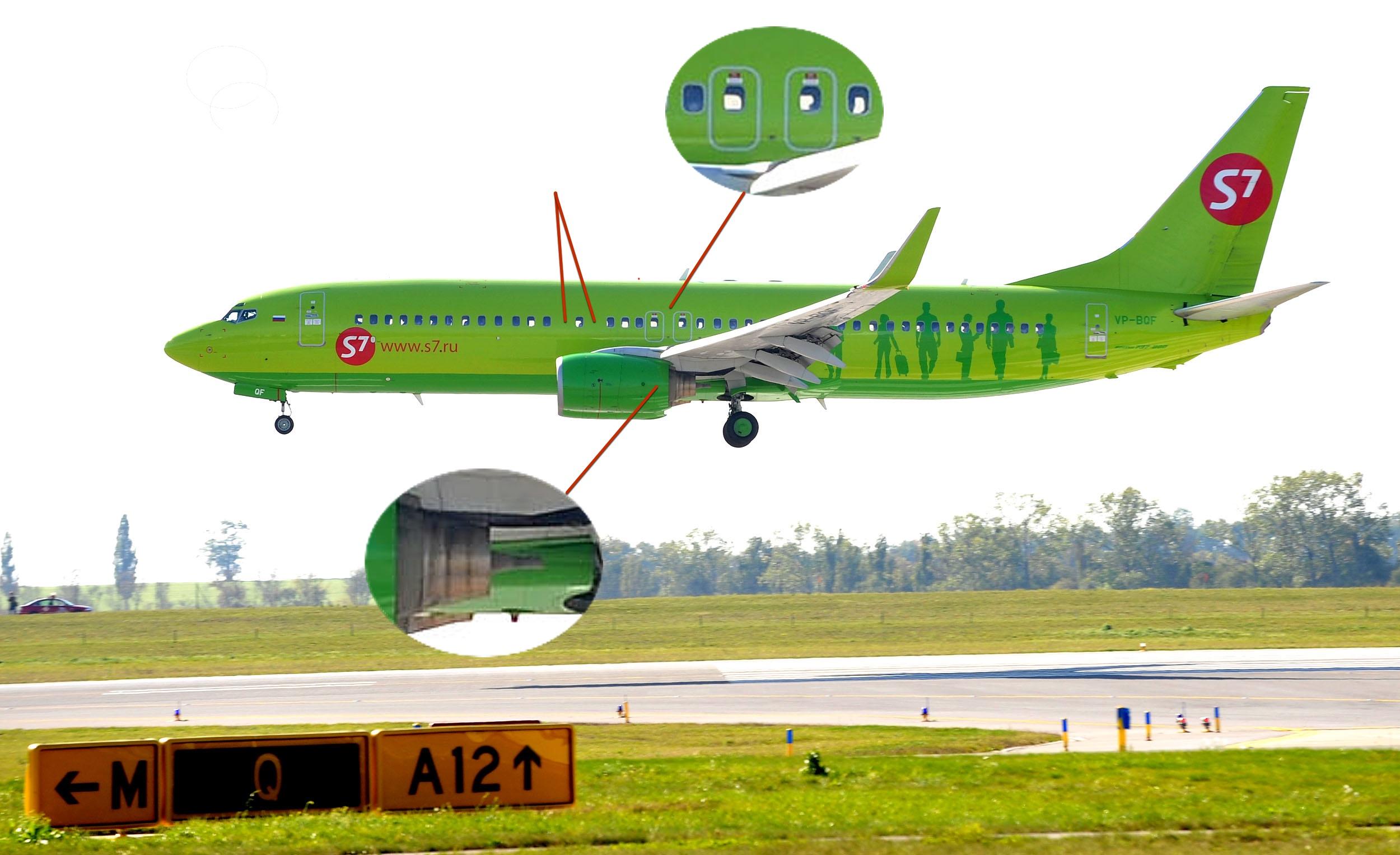 У 737-800 два аварийных выхода на крыло с каждой стороны, два пропущенных окна и двигатель такой же, как у всех NG.