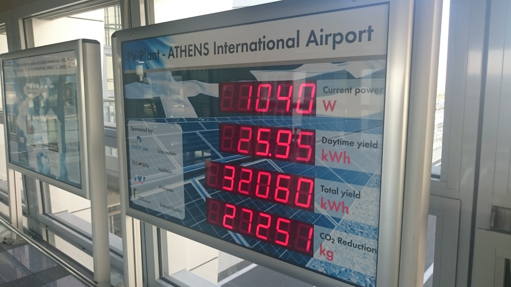 Аэропорт в Афинах частично работает на солнечной энергии.