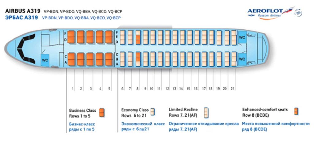 Airbus a319 аэрофлот схема салона