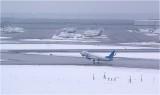 """Взлет Boeing-737-800 авиакомпании """"Победа"""". Вид с вышки (КДП) аэропорта """"Внуково"""". На заднем плане - перрон с Боингами """"Трансаэро""""."""